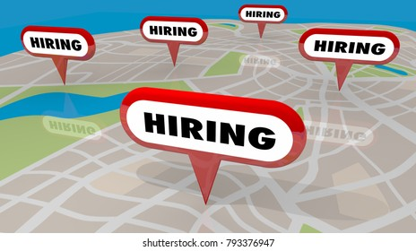 Hiring Pins Map Apply Here Work Jobs 3d Illustration