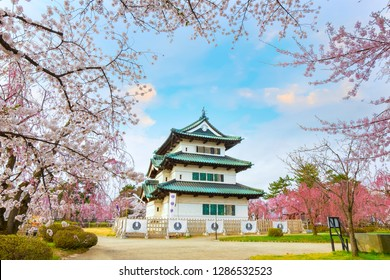 Hirosaki, Japan - April 23 2018: Sakura - Cherry Blossom full bloom at Hirosaki castle in Hirosaki park, one of the most beautiful sakura spot in Tohoku region and Japan