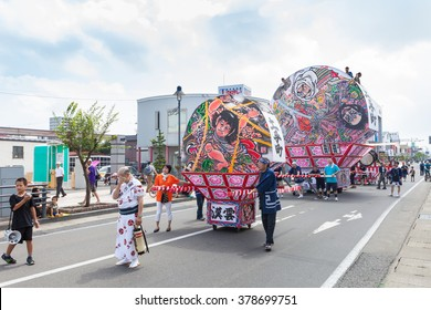 HIROSAKI,JAPAN - AUGUST 7:Hirosaki Neputa (Fan-shaped) float parade on August 7 , 2015 in Hirosaki city, Aomori, Japan. Hirosaki Neputa Matsuri is summer festival, held every year from August 1 to 7.