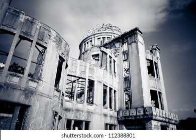 Hiroshima a-bomb dome showing it's aged and damaged architecture, located in Hiroshima, Japan