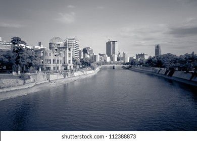 Hiroshima a-bomb dome site with the surrounding river and cityscape, Hiroshima, Japan