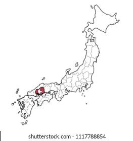 hiroshima flag of Troms prefecture on map with administrative divisions and borders of japan