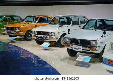 HIROSHIMA, JAPAN -26 FEB 2019- View of an old Mazda vehicle at the Mazda Museum located at the Mazda Motor Corporation headquarters in Hiroshima, Japan.