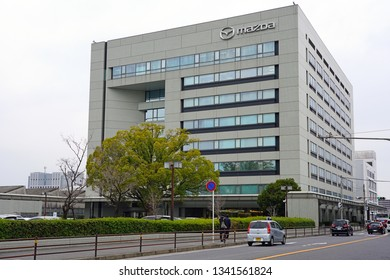 HIROSHIMA, JAPAN -26 FEB 2019- View of the Mazda Headquarters Building, HQ of the Mazda Motor Corporation located in Hiroshima, Japan.