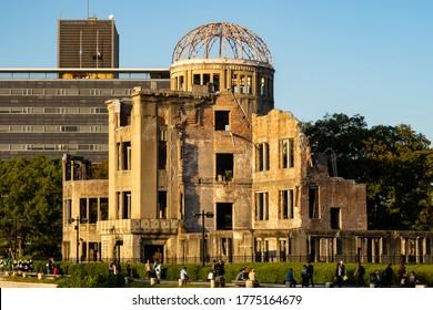 HIROSHIMA, Japan, 31/10/2019. View of The Hiroshima Peace Memorial (Atomic Bomb Dome) during sunset in Hiroshima, Japan.