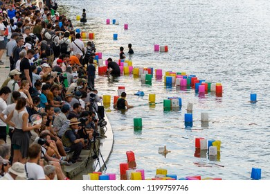 Hiroshima, Japan. 6th August, 2018: famous toro nagashi ceremony at hiroshima ota river embankment as the commemoration of those lost in the bombing