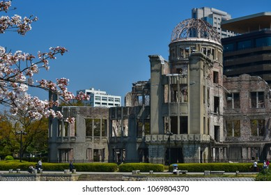 HIROSHIMA, JAPAN -APRIL 3 2017: Atomic Bomb Dome. Ruins of Hiroshima Prefectural Industrial Promotion Hall, UNESCO World Heritage Site.