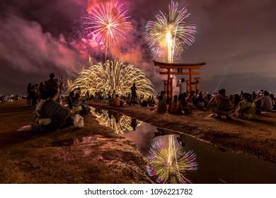 HIROSHIMA, JAPAN - AUGUST 26, 2017: People who came to see fireworks on Miyajima Island.