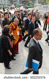 Hiroshima, Japan - November 14, 2010: His Holiness the Dalai Lama leaving a ceremony in the Peace Memorial Park