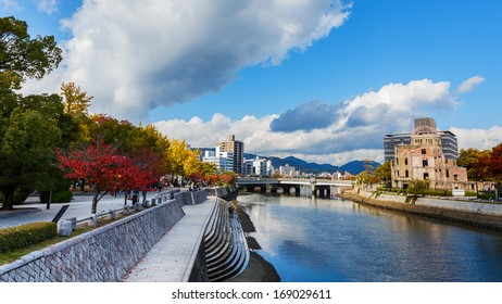HIROSHIMA, JAPAN - NOVEMBER 15: Motoyasu River in Hiroshima, Japan on November 15, 2013. On the bank of the river is the remain of Prefecture Industrial Promotion Hall which near direction of the bomb
