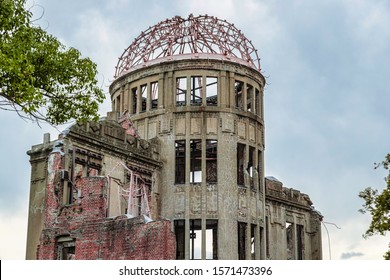 Hiroshima, Japan, November 24, 2019 - Ruin of Hiroshima Prefectural Industrial Promotion Hall in Hiroshima, Japan. The destroyed building is an UNESCO World Heritage Site.