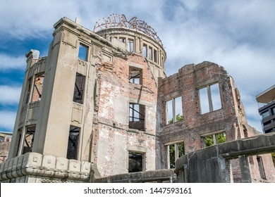 Hiroshima, Japan: October 11, 2018: Atomic Bomb Dome, which survived the atomic bomb in the city of Hiroshima, is part of Hiroshima Peace Memorial Park in Japan. Atomic Bomb Dome is a UNESCO site.