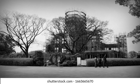 Hiroshima Peace Memorial Park. The A-Bomb Dome is the skeletal ruins of the former Hiroshima Prefectural Industrial Promotion Hall. Japan, 02-15-2015