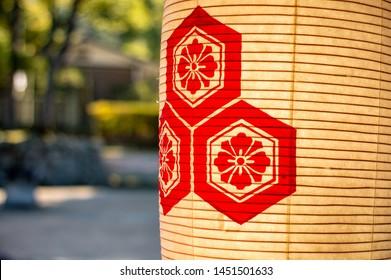 Hiroshima Prefecture /Japan - December 21, 2017: Details from the beautiful Itsukushima Shrine, a Shinto shrine on the island of Itsukushima (Miyajima). It's listed as a UNESCO World Heritage Site