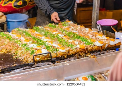 Hiroshima style okonomiyaki of fair booth