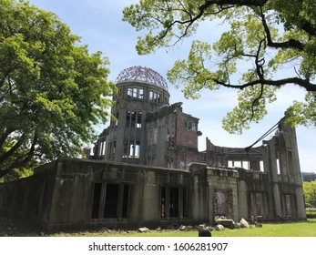 Hiroshima zone zero after the explosion of the atomic bomb.  Hiroshima City Hall building - ruins after the explosion.