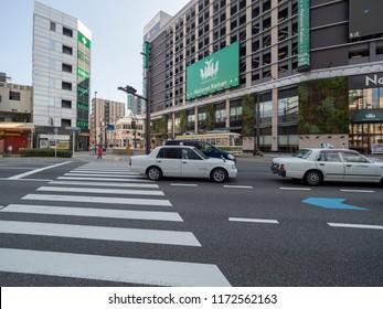 Hiroshima/Japan - August 7 2018: Ozu Dori avenue. Hiroshima is the capital of Hiroshima Prefecture, Japan.