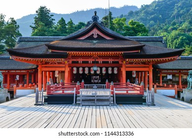Hiroshima,Japan - July 26,2018 - Miyajima is a small island of Hiroshima in Japan. It is most famous for its giant torii gate, which at high tide seems to float on the water.