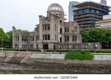 Hiroshima,Japan - JUNE 27 2017: Atomic Bomb Dome memorial building in Hiroshima,Japan