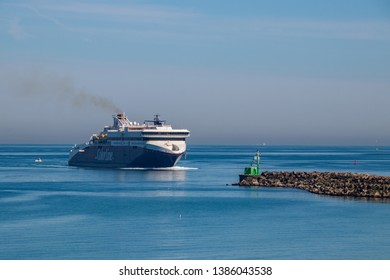 HIRTSHALS, DENMARK - APRIL 19, 2019:  The passenger ferry «Superspeed 2» in Hirtshals, northern Denmark. Superspeed 2 is in service on the Larvik-Hirtshals route operated by Color Line.