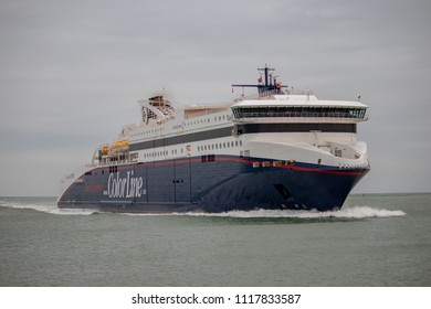 HIRTSHALS, DENMARK - NOVEMBER 23, 2017: The ferry «Superspeed 2» in Hirtshals, northern Denmark. Superspeed 2 is in service on the Larvik-Hirtshals route operated by Color Line.