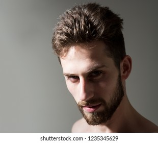 His barber gets his haircuts right. Bearded man needs beard barber. Man in morning after wakeup. Personal grooming and morning routine. Mens hair grooming. Barber shop, copy space.