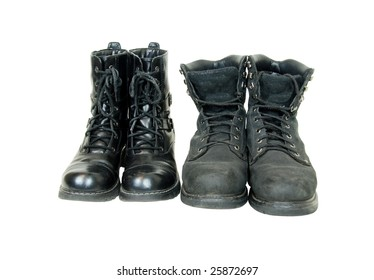 His and her black leather boots to be worn on the feet