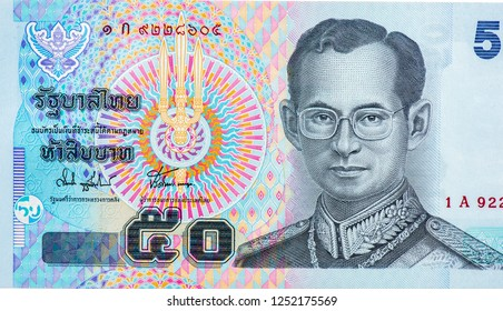 His Majesty King Bhumibol Adulyadej (Rama 9). on 50 Baht banknote Thailand money. Thailand Baht is the national currency of Thailand. Close Up UNC Uncirculated - Collection.