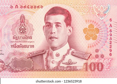 His Majesty King Maha Vajiralongkorn Bodindradebayavarangkun. reign 10th Rama 10. on 100 Baht Thai banknotes. Thai is the national currency of Thailand, Close Up UNC Uncirculated - Collection.