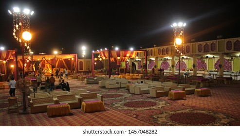 Hisar, india. 6th february 2019. this is a banquet hall. there was a wedding. it was fully decorated. their were people who enjoyed the wedding.