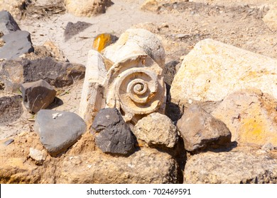 Hisham's Palace Spiral Stone Decoration in West Bank city of Jericho, Old city in Palestine, Israel