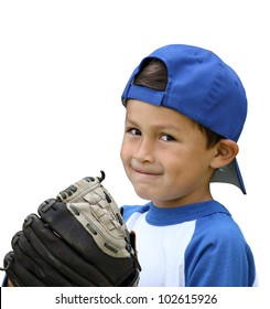Hispanic baseball boy with blue and white clothes and glove on isolated white background