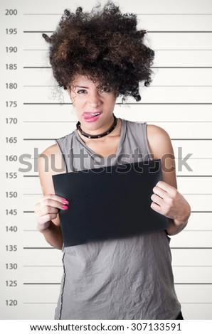 Hispanic Brunette Rebel Model Afro Like Stock Photo Edit Now