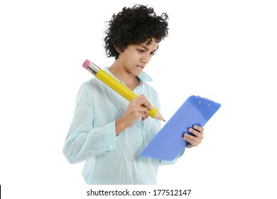hispanic business woman taking notes with huge yellow pencil on white background
