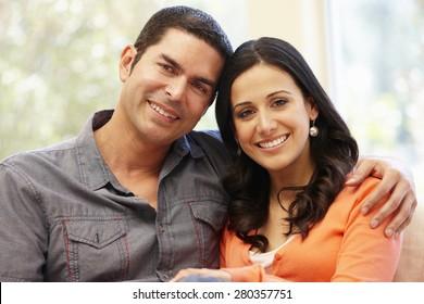 Hispanic couple at home