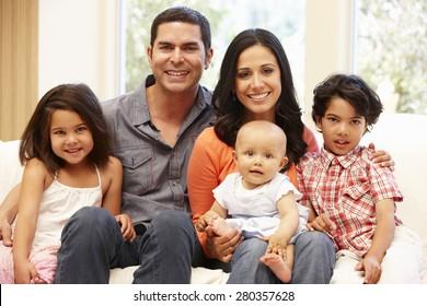 Hispanic family at home
