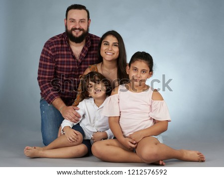 Hispanic Family Studio Background Happy Smiling Stock Photo Edit