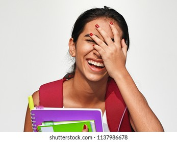 Hispanic Girl Student And Laughter
