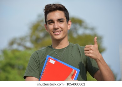 Hispanic Male Teen Military Student And Success
