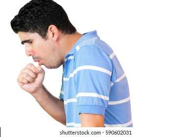 Hispanic man have a coughing fit isolated on white