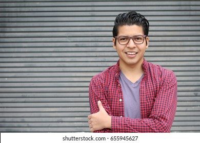 Hispanic man wearing glasses portrait