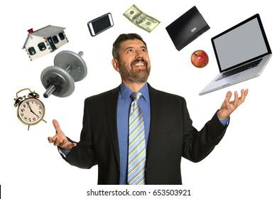 Hispanic mature businessman confidently juggling multiple objects
