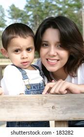 Hispanic mom and son