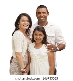 Hispanic Mother, Father and Daughter Isolated on a White Background.
