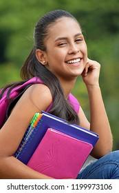Hispanic Teen Female Student Smiling