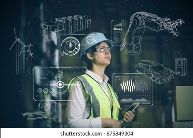 hispanic woman engineer and industrial technology abstract. Internet of Things. INDUSTRY4.0