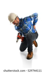 Hispanic worker suffering back injury isolated over white background