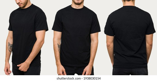 Hispanic young man wearing a black casual t-shirt. Side view, behind and front view of a mock up template for a t-shirt design print