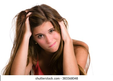 Hispanic young woman with Desperate and confused expression.