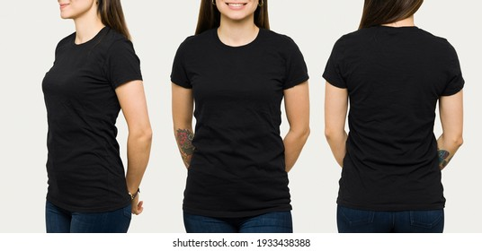 Hispanic young woman wearing a black casual t-shirt. Side view, behind and front view of a mock up template for a t-shirt design print